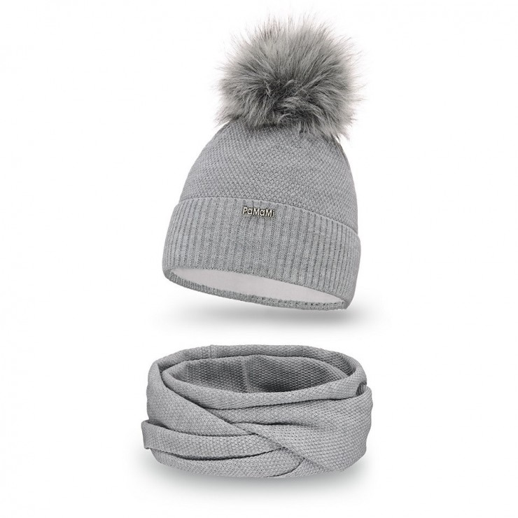 Women's Winter Set hat and scarf  MI142 gray