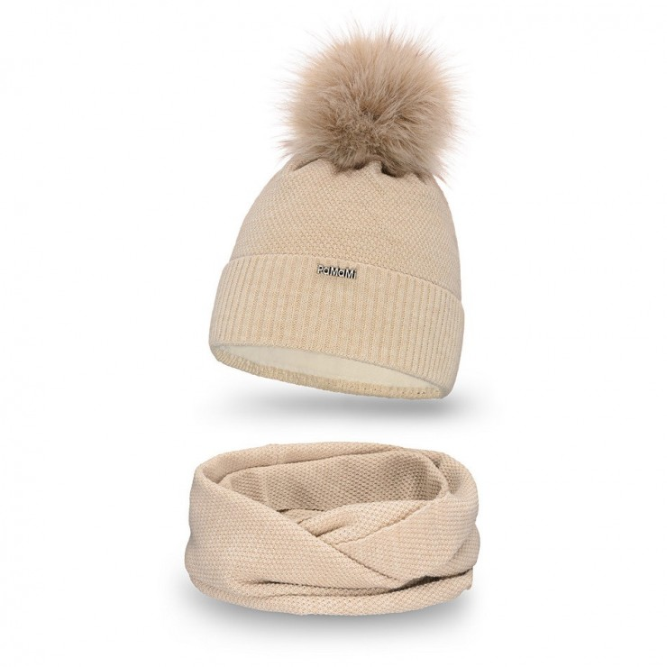 Women's Winter Set hat and scarf  MI142 beige
