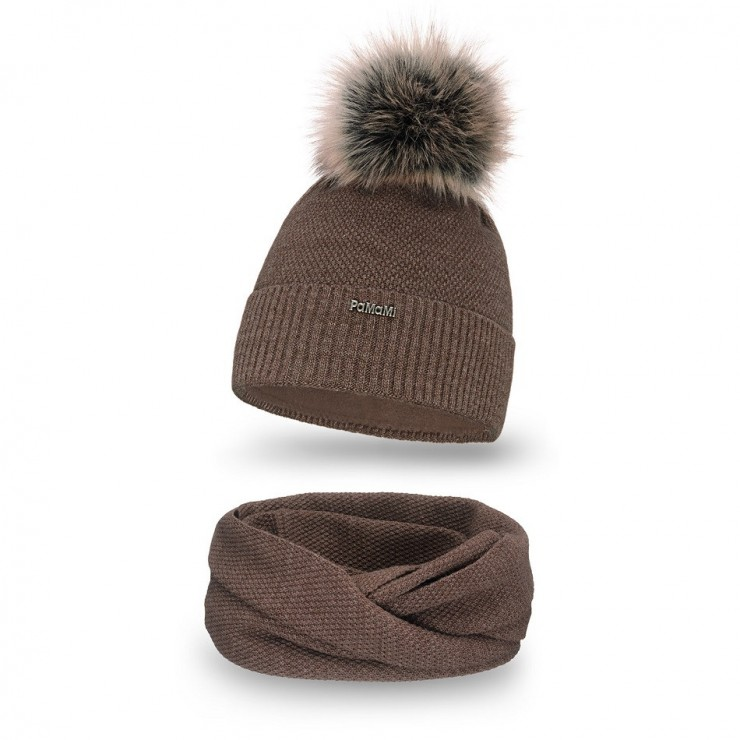 Women's Winter Set hat and scarf  MI142 dark brown