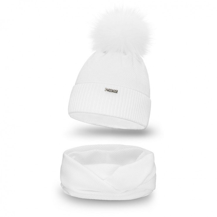 Women's Winter Set hat and scarf  MI142 white