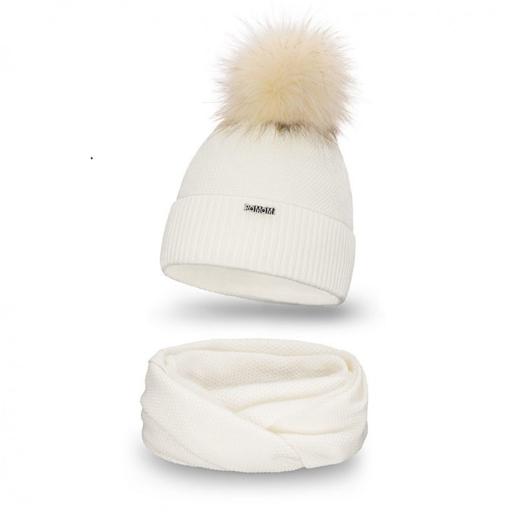 Women's Winter Set hat and scarf  MI142 cream
