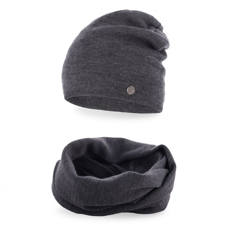 Women's Winter Set hat and scarf MI77 dark gray