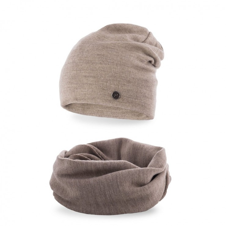 Women's Winter Set hat and scarf MI77 cappuccino