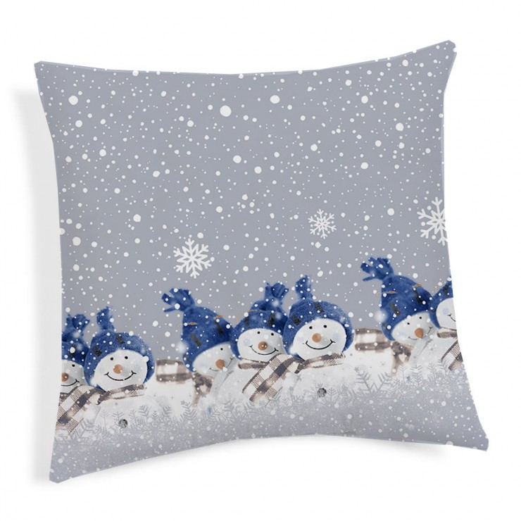 Pillowcase Teddy Snowman blue 40x40 cm Made in Italy