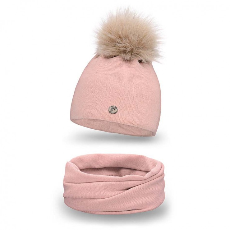 Women's Winter Set hat and scarf  MI67 pink
