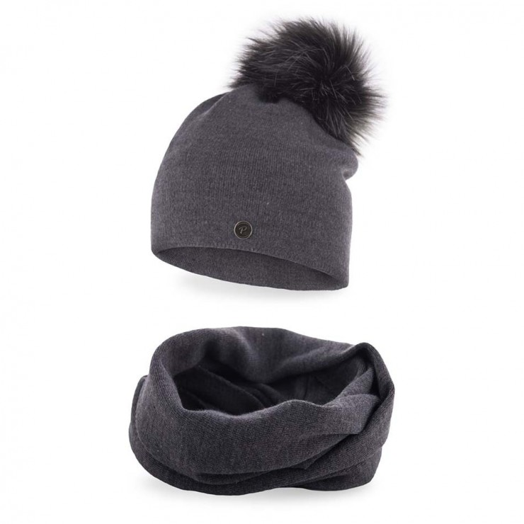 Women's Winter Set hat and scarf  MI67 dark gray