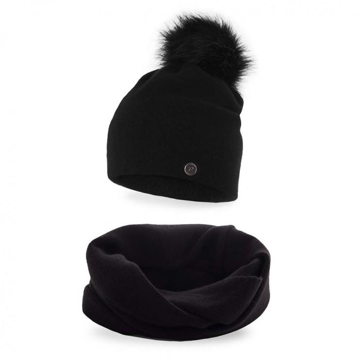 Dámsky set čiapka a nákrčník MI67 čierny