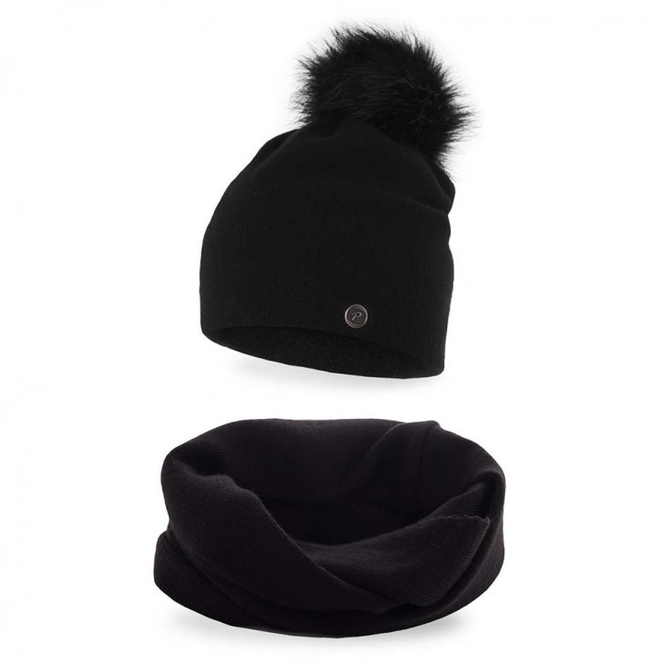 Women's Winter Set hat and scarf  MI67 black