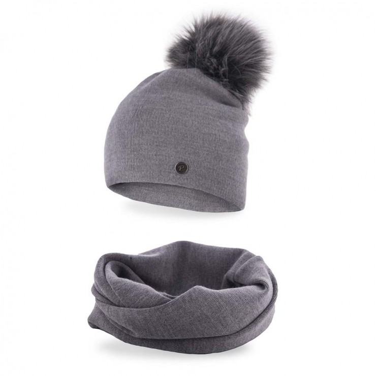 Women's Winter Set hat and scarf  MI67 gray