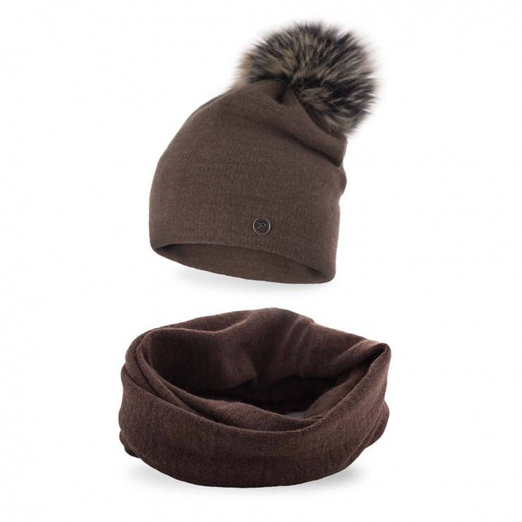 Women's Winter Set hat and scarf  MI67 dark brown