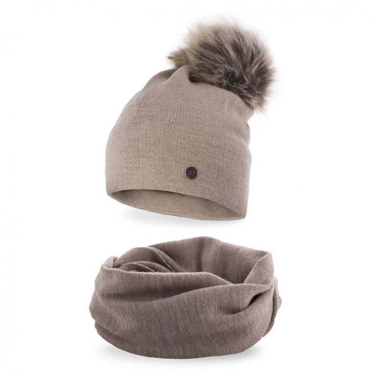 Women's Winter Set hat and scarf  MI67 cappuccino