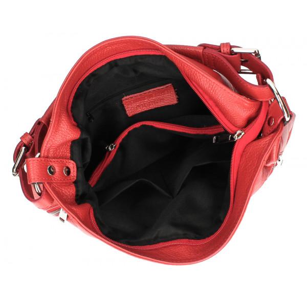 Kožená kabelka MI341 tmavohnedá Made in Italy