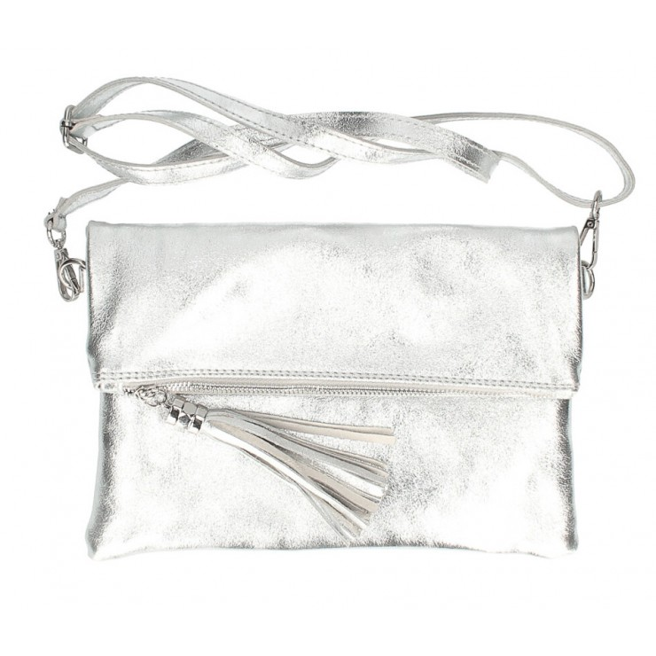 Genuine Leather Handbag 16003 silver Made in Italy