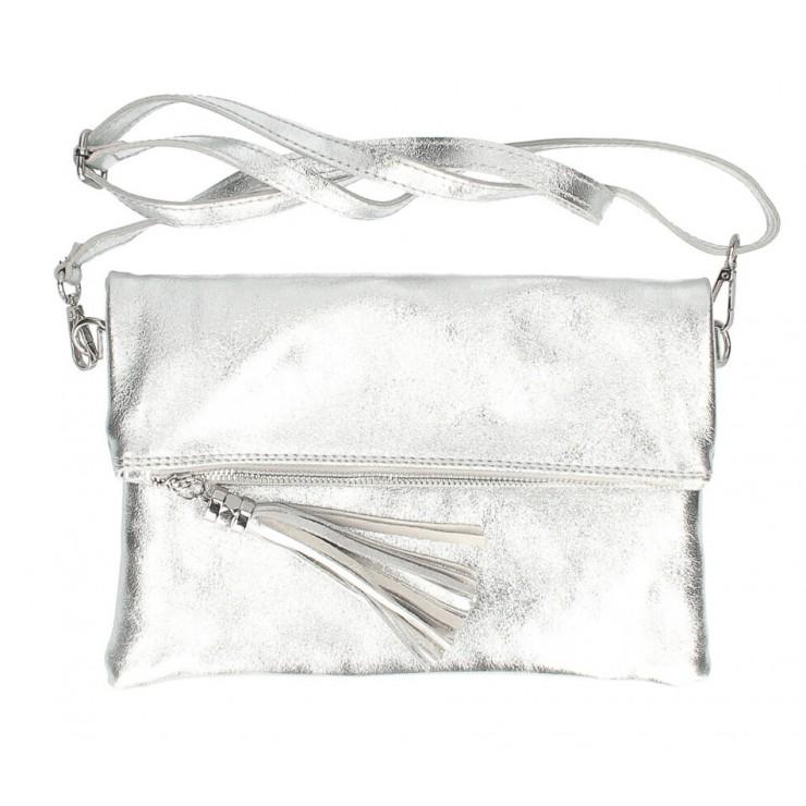Kožená kabelka 16003 stříbrná Made in Italy