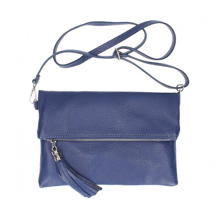 Genuine Leather Handbag 16003 blue Made in Italy