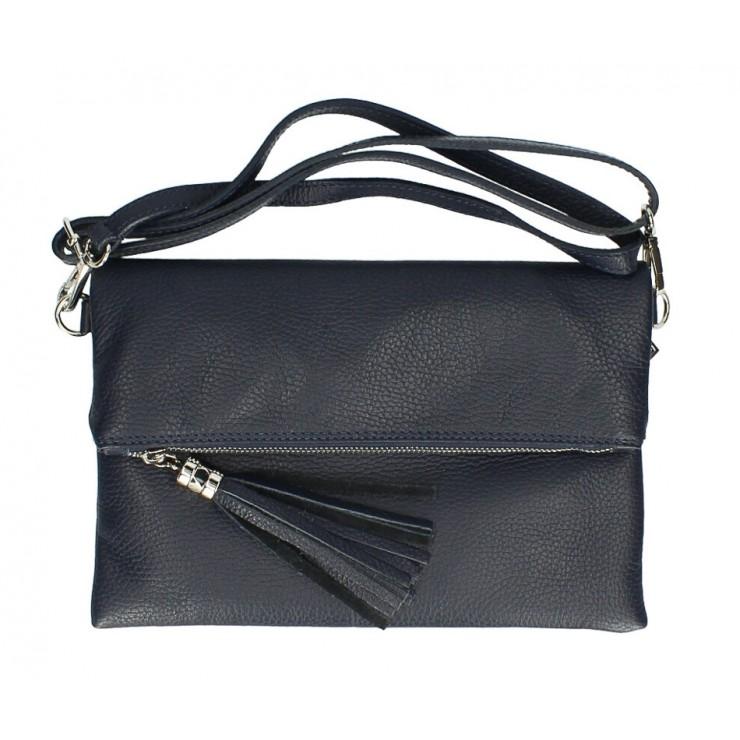 Genuine Leather Handbag 16003 dark blue Made in Italy
