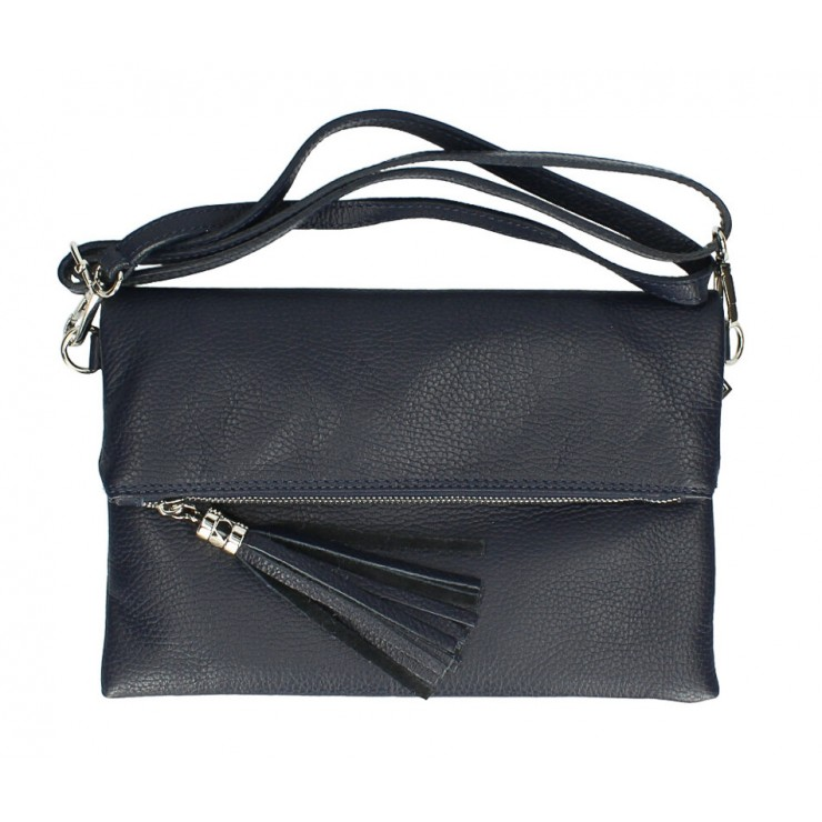 Genuine Leather Handbag 16003 dark blue Made in Italy