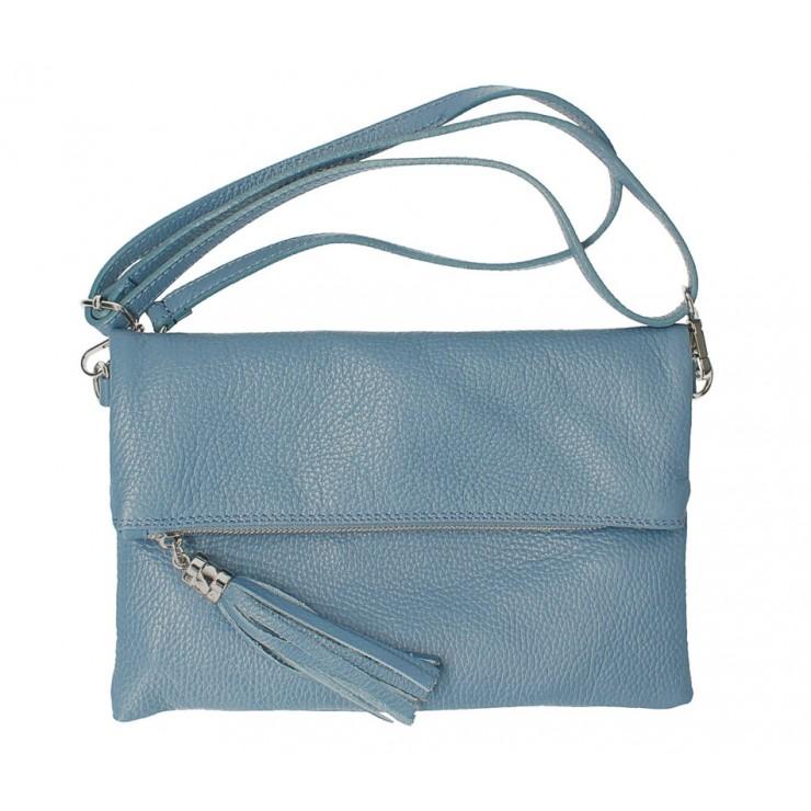 Genuine Leather Handbag 16003 light blue Made in Italy