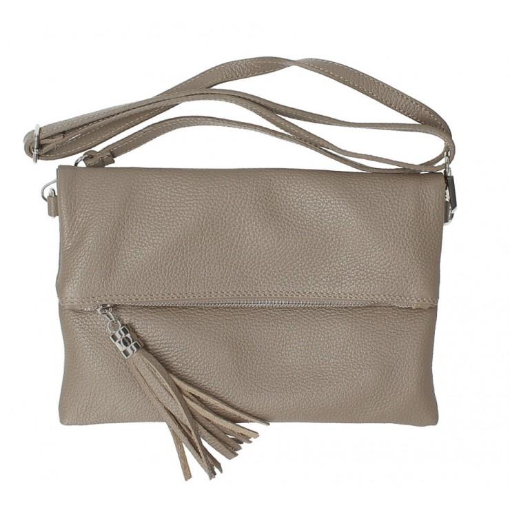 Genuine Leather Handbag 16003 dark taupe Made in Italy