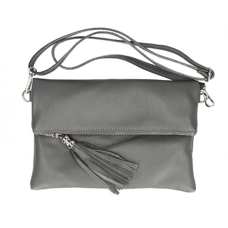 Genuine Leather Handbag 16003 dark gray Made in Italy