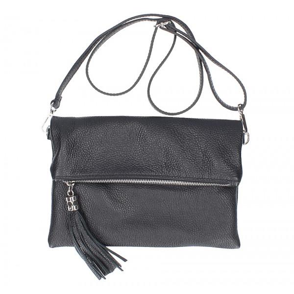 Kožená kabelka 668 čierna Made in Italy Čierna
