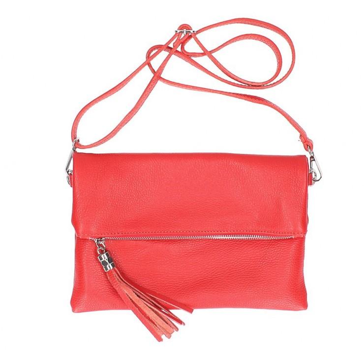 Kožená kabelka 668 červená Made in Italy