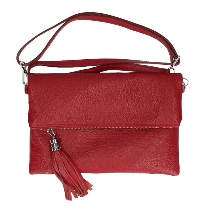 Kožená kabelka 16003 tmavočervená Made in Italy