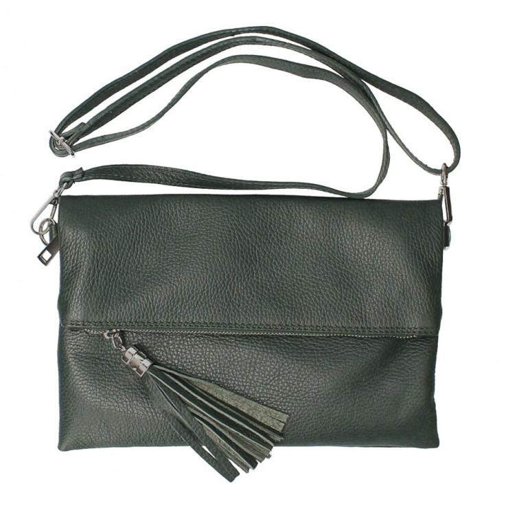Genuine Leather Handbag 16003 dark green Made in Italy