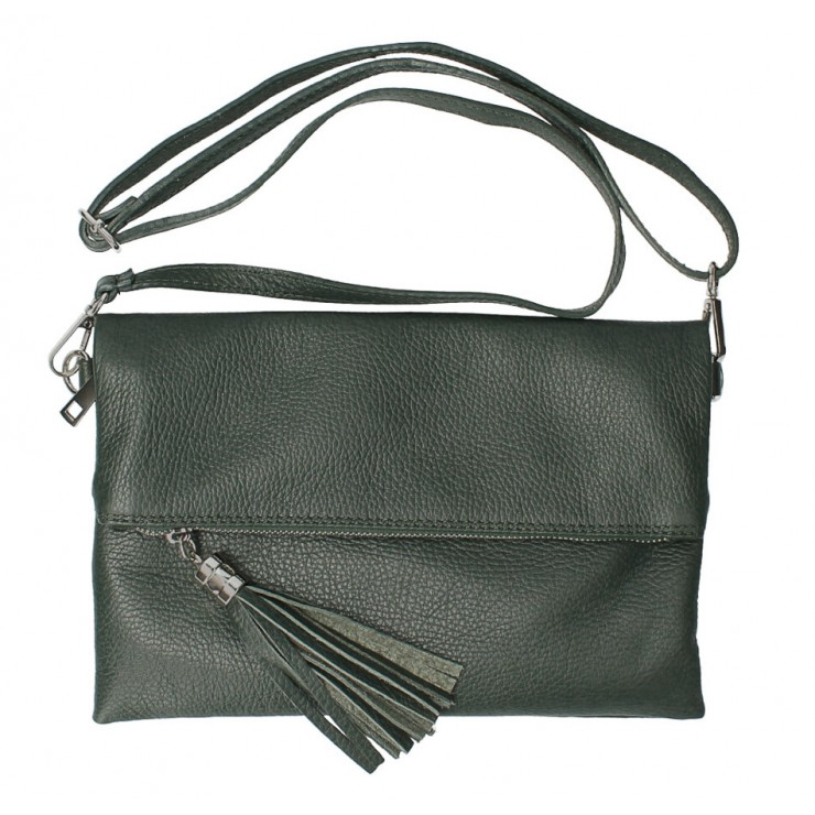 Genuine Leather Handbag 668 dark green Made in Italy