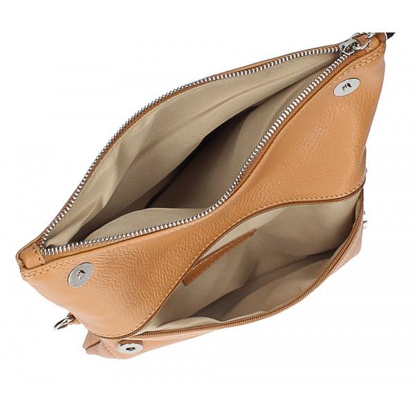Kožená kabelka 668 tmavozelená Made in Italy Zelená