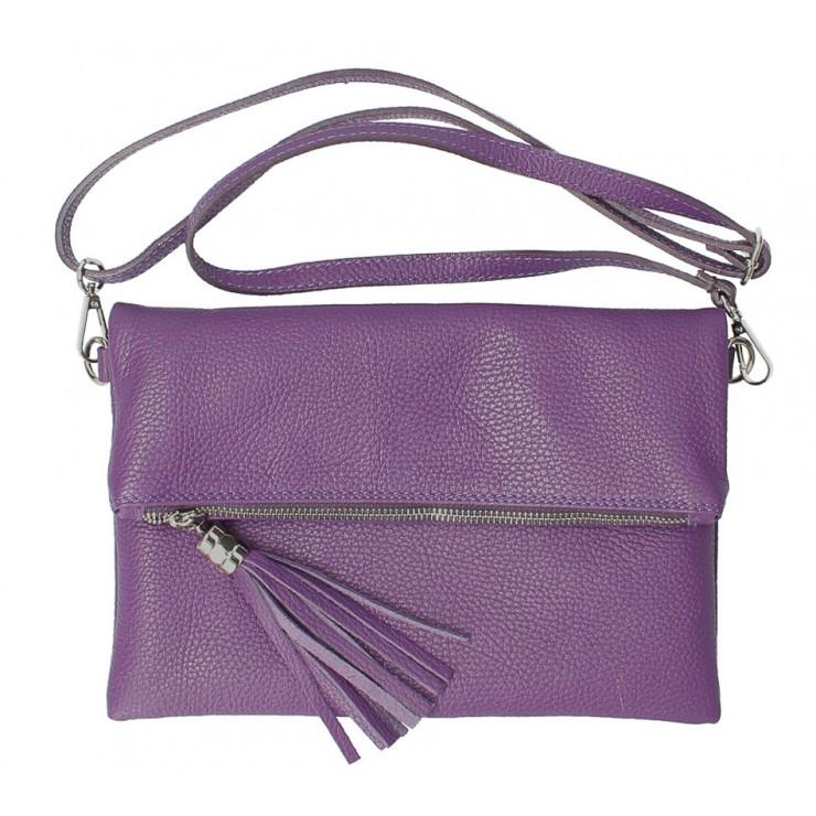Kožená kabelka 668 fialová Made in Italy
