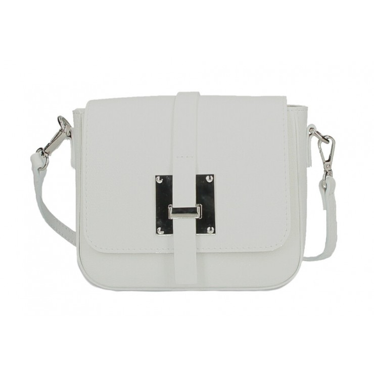 Genuine Leather Shoulder Bag 5328 white Made in Italy