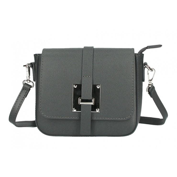 Kožená kabelka na rameno 5328 tmavošedá Made in Italy