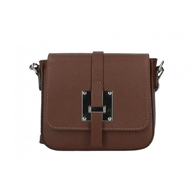 Kožená kabelka na rameno 5328 hnedá Made in Italy