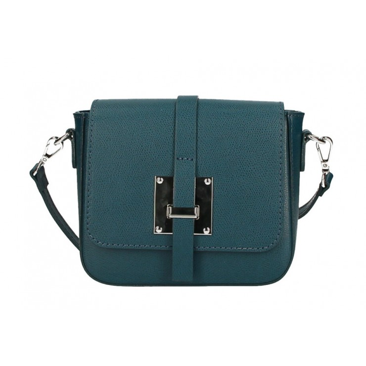Genuine Leather Shoulder Bag 5328 teal Made in Italy