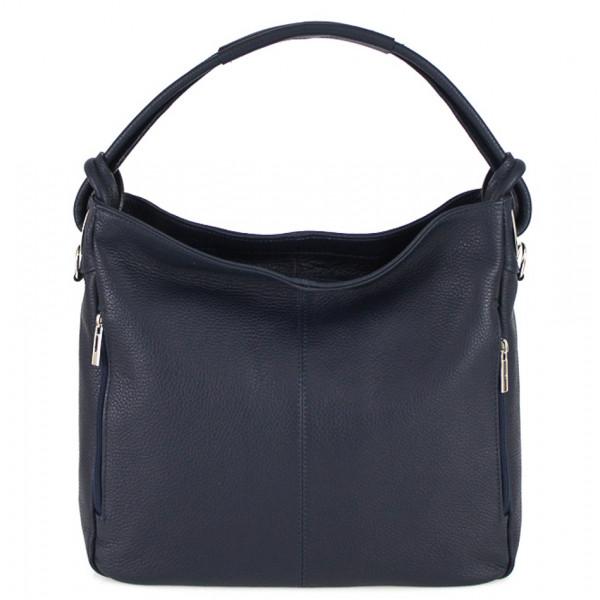 Kožená kabelka na rameno 499 tmavomodrá Made in Italy