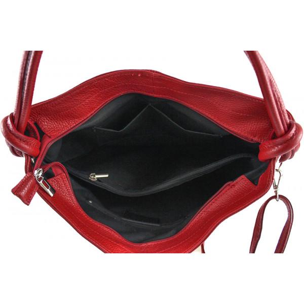 Kožená kabelka na rameno 499 nebesky modrá Made in Italy