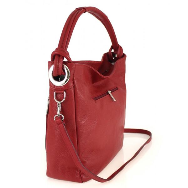 Kožená kabelka na rameno 499 koňaková Made in Italy