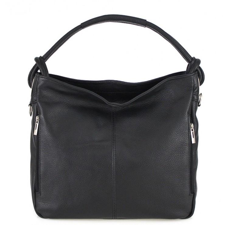 Leather shoulder bag 499 black Made in Italy
