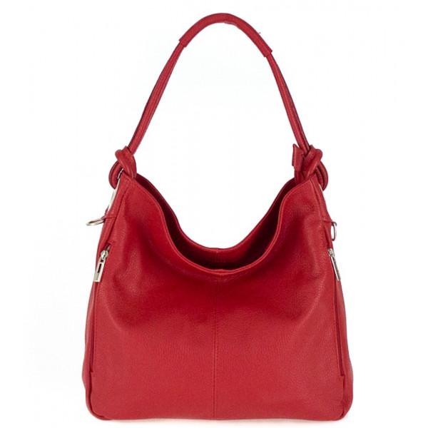 Kožená kabelka na rameno 499 červená Made in Italy