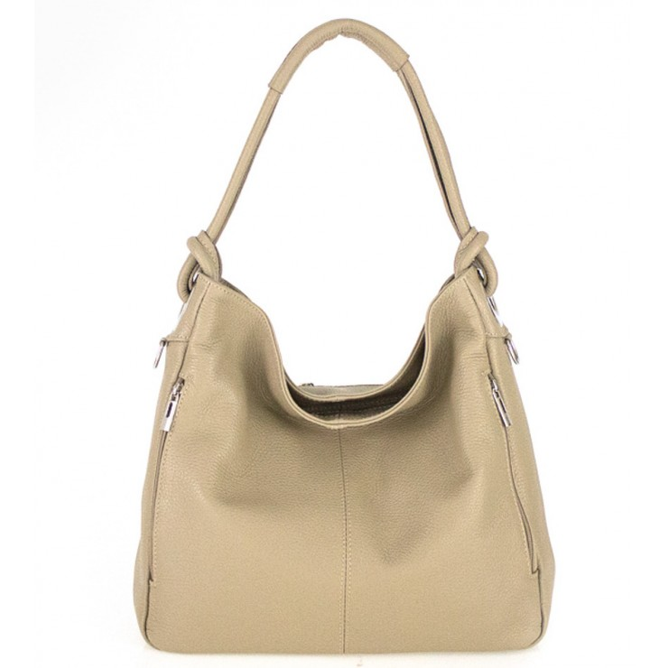 Leather shoulder bag 499 taupe Made in Italy
