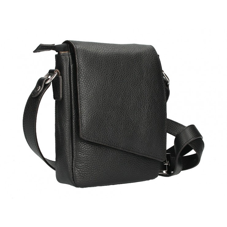 Leather Strap bag MI348 black Made in Italy