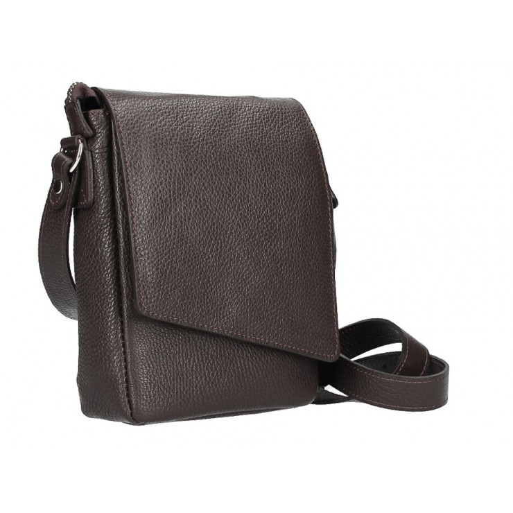 Leather Strap bag MI348 dark brown Made in Italy
