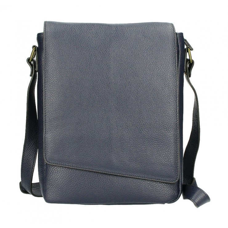 Leather Strap bag MI355 dark blue Made in Italy
