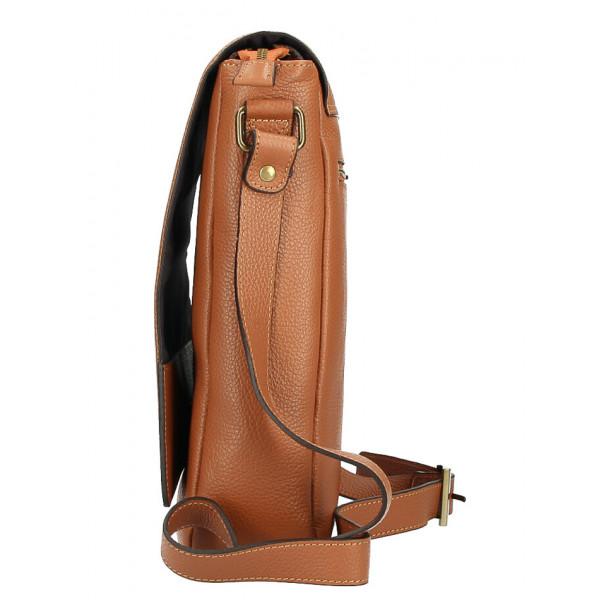 Pánska taška na rameno MI355 koňaková Made in Italy Koňak