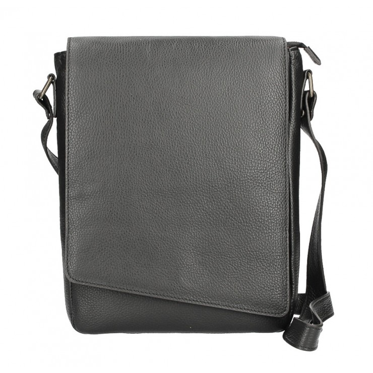 Leather Strap bag MI355 black Made in Italy