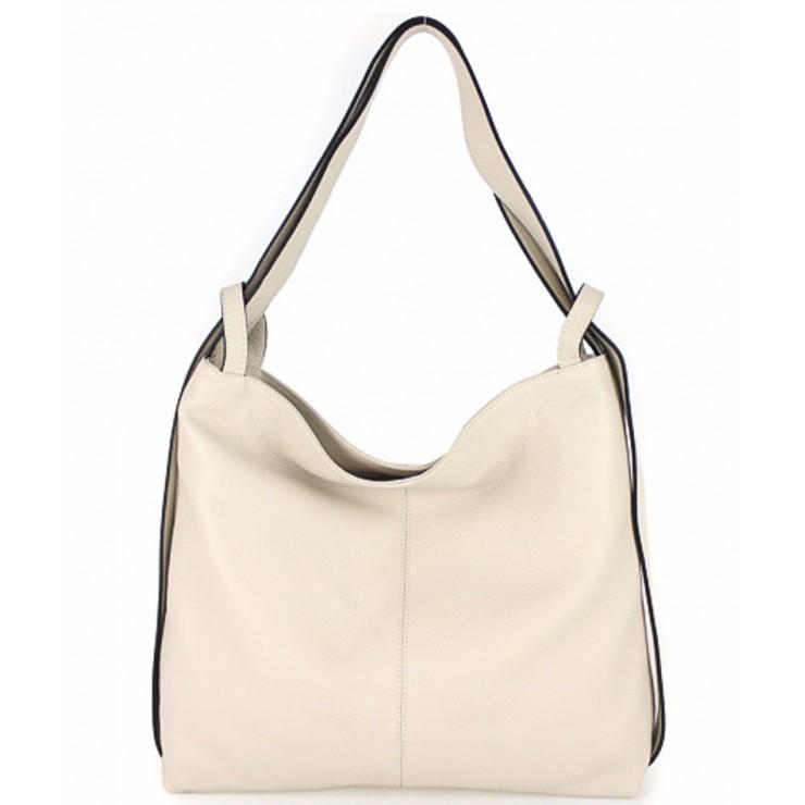 Leather shoulder bag 579 beige Made in Italy