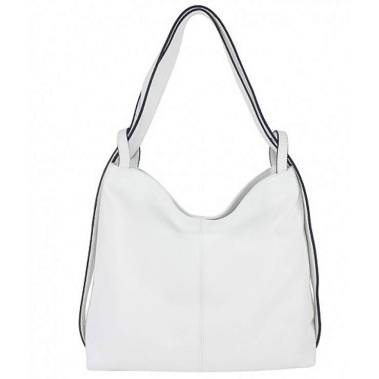 Leather shoulder bag 579 white Made in Italy