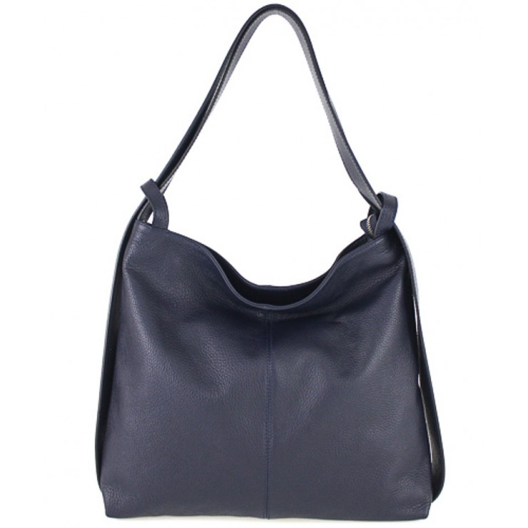 Leather shoulder bag 579 dark blue Made in Italy