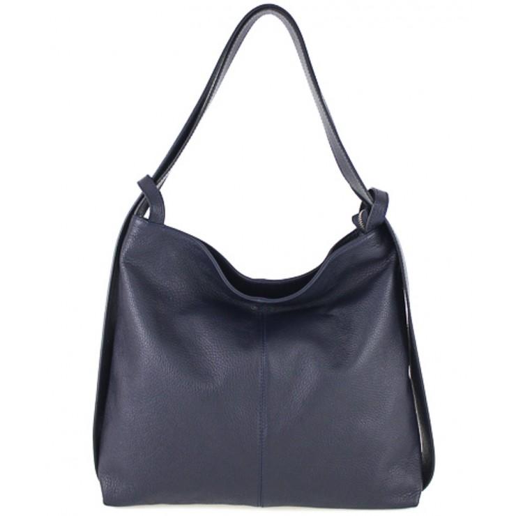Leather shoulder bag MI357 dark blue Made in Italy